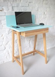 LUKA Ashwood Writing Desk 65x50cm with Drawer / Light Turquoise
