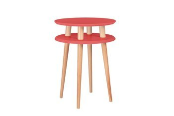 UFO Side Table diam. 45cm x height 61cm - Living Coral / White Legs